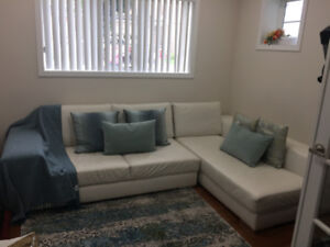 White Italian Leather Sectional Sofa for Sale (Good Condition)