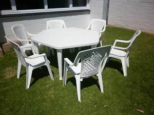 Resin outdoor table setting with six matching chairs Warradale Marion Area Preview
