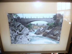 """Hugh Cummings """"Sauble River And Bridge"""" 1900's Hand Colored Phot Stratford Kitchener Area image 1"""