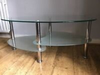 Oval Glass Coffee Table with Chrome Legs