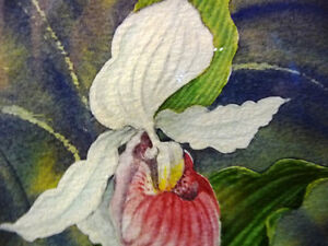 "Original Watercolor by Joan Tovey ""Lady's Slipper"" 1980's Stratford Kitchener Area image 4"