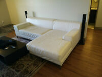 Large white pleather L-shaped couch, white, Ikea, Kramfor