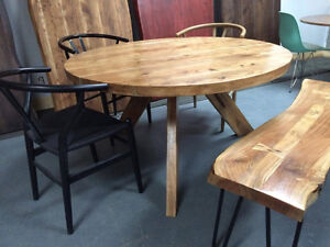 tables ronde bois, round wooden table, acacia, artemano style