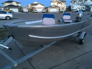 Crestliner 14' aluminum boat motor and trailer