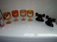 Carnival Glass Globlets and Black Carnival Double Candle Holders