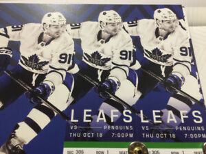 Toronto Maple Leafs vs Pittsburgh Penguins Oct 18 - Row 1 Green