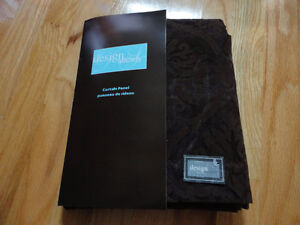 Brown velour net floral patterned curtain window covering NWT