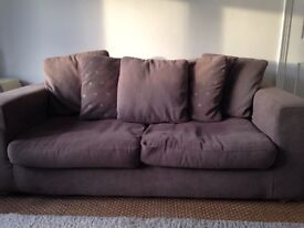 3 seater sofa with 5 scatter cushions mocha