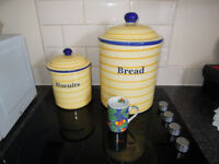 Unique Bread and Biscuit Storage Barrels.Superb condition.Beautiful addition to kitchen decor.