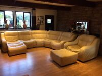 Dfs Modular Cream Leather Corner Sofa With Lounger, Armchair + Footrest