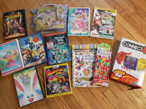 Movies and games, diary and pencil crayons