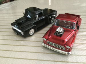 FOR  SALE:   Pair of  FIFTIES - RACE  VERSION PICKUPS 1:24 scale