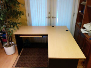 Beech Laminate Top L-Shape Computer Desk