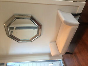 Like new linen fabric bench and mirror