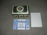 TIN RECIPE BOX WITH 200 INDEX CARDS