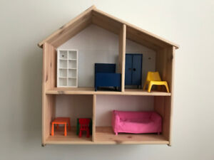 Doll house/wall shelf with doll furniture, living,bedroom