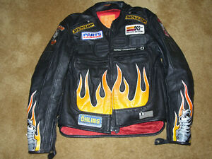 "Black Leather ICON ""Burner"" Motorcycle Jacket"
