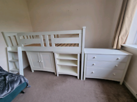 Kids mid sleeper with cupboard and chest of drawers
