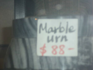 Marble urn in black & gray color $88