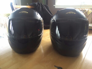 Two Full Face Helmets with visors & Front hinged for opening