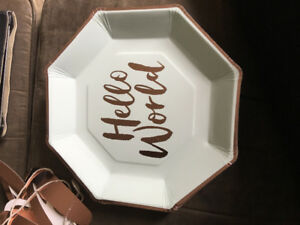 'Hello World' Party Plates, Napkins, Sign & Cake Topper