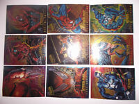 9 Cartes FLEER ULTRA SPIDERMAN MASTERPIECES