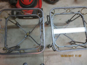 2 glass/metal side tables