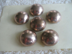 SET of 6 SHINY BRASS DOME-SHAPED BUTTONS