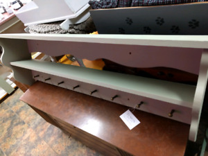 Solid Pine Painted Coat Rack and Shelf