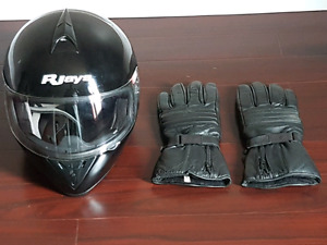 Used motorcycle helmet and leather gloves XXL