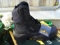 Groundwork lace up zip off high leg steel toe work boots