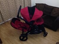 Britax B-Dual Buggy with carry cot & rain cover