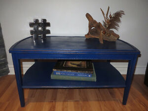 BLUE ANTIQUE SHABBY CHIC COFFEE TABLE/ TABLE DE CAFÉ SHABBY CHIC