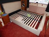 Faux cream leather Double Bedframe