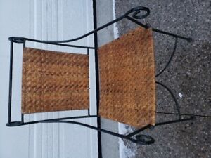 Steel frame wicker chair with brand new cushion set.