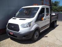 £ 82 A WEEK - 2015 FORD TRANSIT 2.2 DOUBLE CREW CAB 7 SEAT TIPPER TRUCK 123HP
