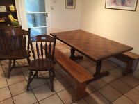 Dining Table, 2 x chairs & 2x hand made bench's.