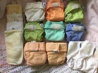 Newborn size cloth nappy bundle and wraps