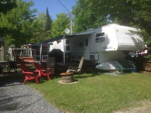 roulotte camping Plage Mackenzie au Lac Brompton