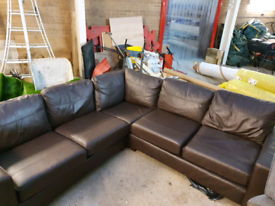 M&S brown leather corner sofa