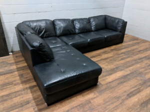 (Free Delivery) - Black leather 'Oakdale' sectional sofa
