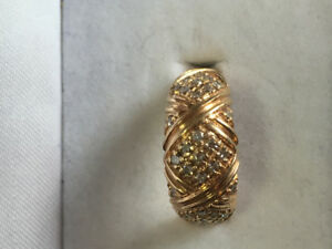14k solid gold diamond ring ,size 9