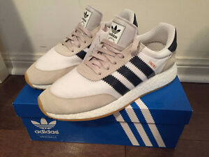 Brand New Adidas Iniki White Navy Gum Bottom - US size 9.5