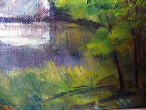 """Original Oil Painting by Blanche Ducharme """"Peaceful Pond"""" 1960's Stratford Kitchener Area image 10"""
