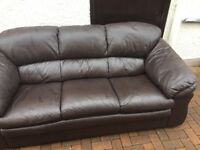 Stunning. Dark. Brown. Leather. Sofa