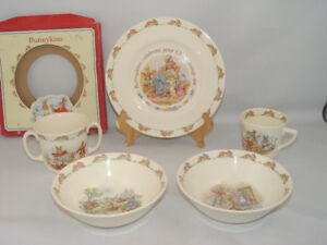 Vintage Royal Doulton Bunnykins 5 Pcs Dinner Set Bone China