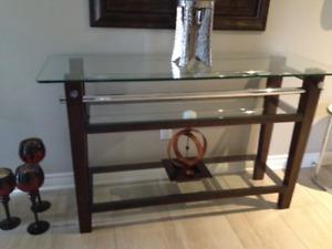 GLASS /WOOD/ CHROME SOFA TABLE