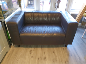 Faux brown leather 2 seater sofa