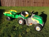Battery Power Green Tractor & Trailer