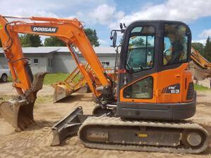 2014 Doosan DX63-3 Compact Excavator LOW HOURS